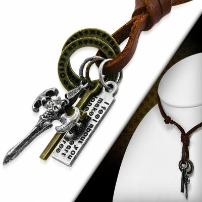 Kožený náhrdelník - Bojový Kříž CTH429T