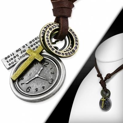 Kožený náhrdelník - Hodiny, Křížek CTH399T